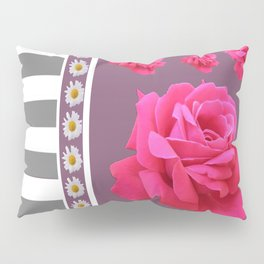 MODERN  PINK ROSES ON PUCE COLOR ART Pillow Sham