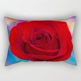 Red Rose and Rainbow Bokeh Rectangular Pillow