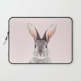 Baby Rabbit, Grey Bunny With Pink Background, Baby Animals Art Print By Synplus Laptop Sleeve
