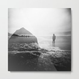Alone on Cannon Beach - Film Double Exposure with Haystack Rock Metal Print