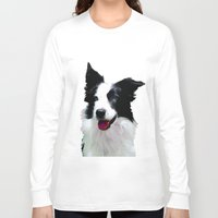 border collie Long Sleeve T-shirts featuring Border Collie by Albert Tjandra