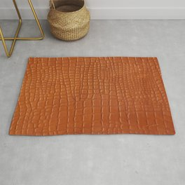Brown faux crocodile leather texture Rug