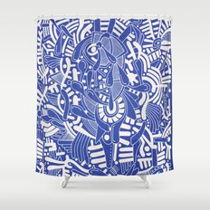 - captain lost in blue - Shower Curtain