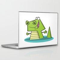 crocodile Laptop & iPad Skins featuring Crocodile by Shahed Ali illustration