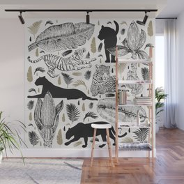 Wild Cats and Botanicals Wall Mural