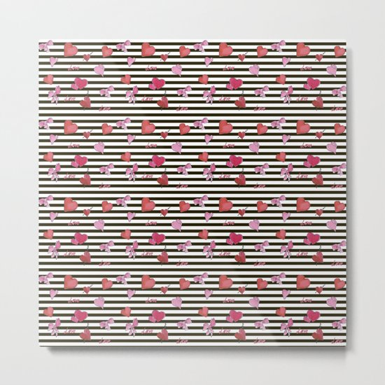 Valentines Day pattern watercolor hearts on striped Metal Print