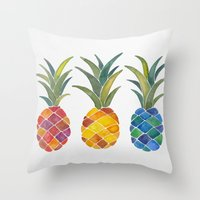 pineapples Throw Pillows featuring Pineapples by Cat Coquillette