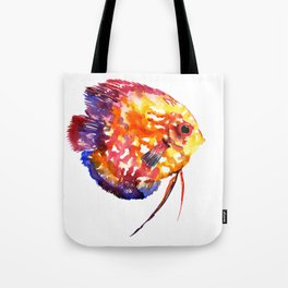 Rainbow Colored Yellow Red Orange Blue Discus, cute fish Tote Bag