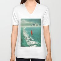 cities V-neck T-shirts featuring Waiting For The Cities To Fade Out by Frank Moth