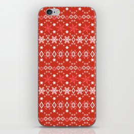 Red white Christmas ornament iPhone Skin
