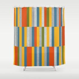 Orange, Green, Blue, Gray / Grey Stripes, Nautical Maritime Shower Curtain