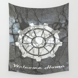 Fallout inspired welcome home, vault door, print, poster, wall art, neutral Wall Tapestry