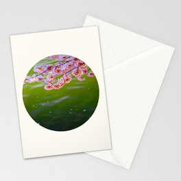 Mid Century Modern Round Circle Photo Graphic Design Pink Japanese Blossoms Over Green Pond Stationery Cards