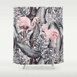 Flamingo Love - Watercolor Birds in Pink and Gray color Shower Curtain