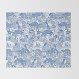 chinoiserie toile blue Throw Blanket