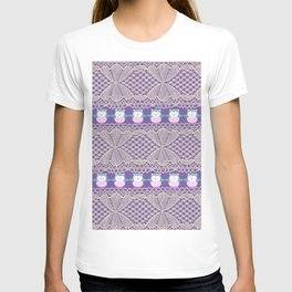 Vintage ivory purple floral lace cute funny owls T-shirt