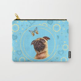 Cute Pug puppy and Butterfly Carry-All Pouch