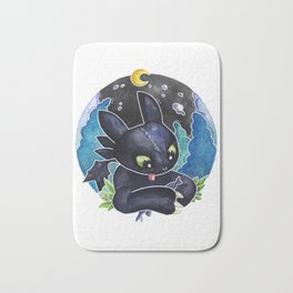 Baby Toothless Night Fury Dragon  Watercolor white bg Bath Mat