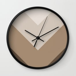 Brown Taupe Chevron Stripes Wall Clock