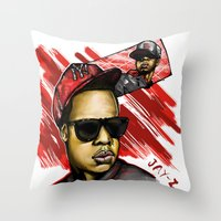 jay z Throw Pillows featuring Jay Z by C.Love Designs