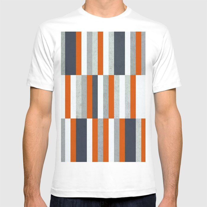 40141b83 Orange, Navy Blue, Gray / Grey Stripes, Abstract Nautical Maritime Design  by T-shirt by pelaxy | Society6