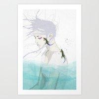 lizard Art Prints featuring Lizard by SEVENTRAPS