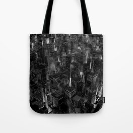 Night city glow B&W / 3D render of night time city lit from streets below in black and white Tote Bag
