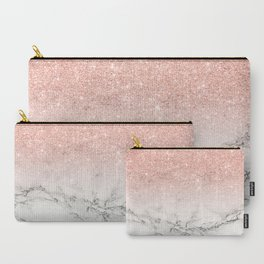 Modern faux rose gold pink glitter ombre white marble Carry-All Pouch