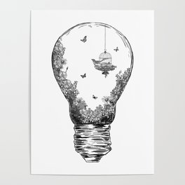 Aquarium Bulb Bird with Flowers Poster