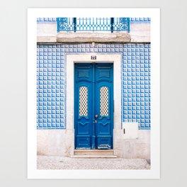 The blue door of Lisbon   Portugal fine art travel photography print Art Print