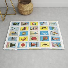 Mexican Loteria Bingo Card Spanish Tarot Card Design Rug