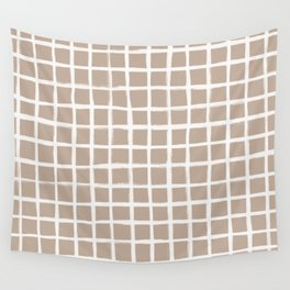 Strokes Grid - Off White on Nude Wall Tapestry