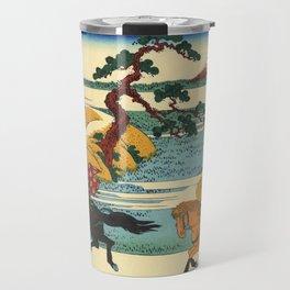 Katsushika Hokusai - 36 Views of Mount Fuji (1832) - 22: Barrier Town on the Sumida River Travel Mug