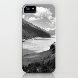 Gepatsch Reservoir Kaunertal Glacier Austria Alps Landscape black white iPhone Case
