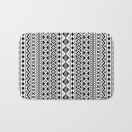 Aztec Essence Pattern Black on White Bath Mat
