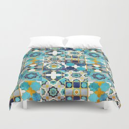Spanish moroccan tiles inspiration // turquoise blue golden lines Duvet Cover
