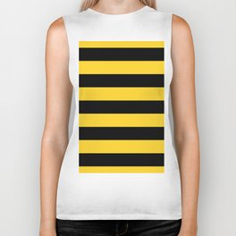 Yellow and Black Honey Bee Horizontal Cabana Tent Stripes Biker Tank
