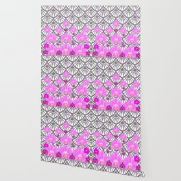 CERISE PINK ORCHID FLOWERS GREY DECO PATTERN ABSTRACT ART Wallpaper