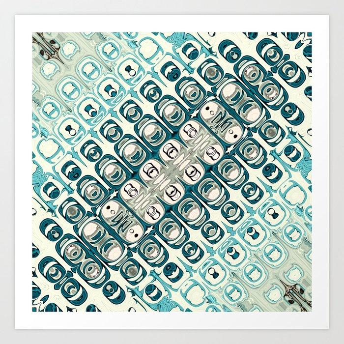 Turquoise Tile Pattern Art Print