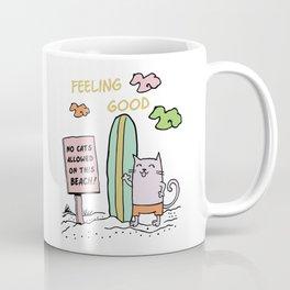 Cat on the beach Coffee Mug