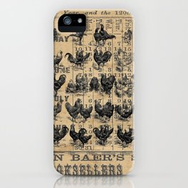 Vintage Chicken Study from 1895 Dictionary on Lancaster, PA antique almanac page iPhone Case