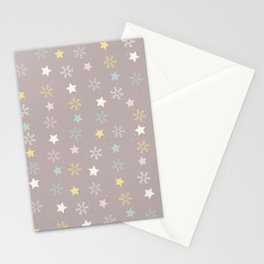 Pastel brown pink yellow Christmas snow flakes stars pattern Stationery Cards