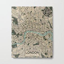 London City Map of England - Vintage Metal Print