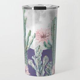 Desert Cactus Full Moon Succulent Garden on Purple Travel Mug