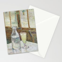 Café table with absinth Stationery Cards