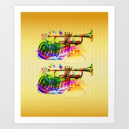 Summer music instruments design Art Print