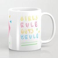 girl power Mugs featuring Girl Power by Lovisa Valentino