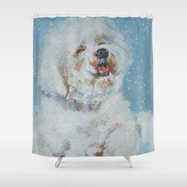 Bichon Frise dog art Fine Art Dog Painting by L.A.Shepard Shower Curtain