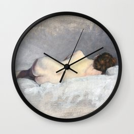 Soft Pastel Nude Female Oil painting of Woman Sleeping Wall Clock