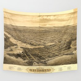 Bird's Eye View of Victoria, British Columbia, Canada (1878) Wall Tapestry